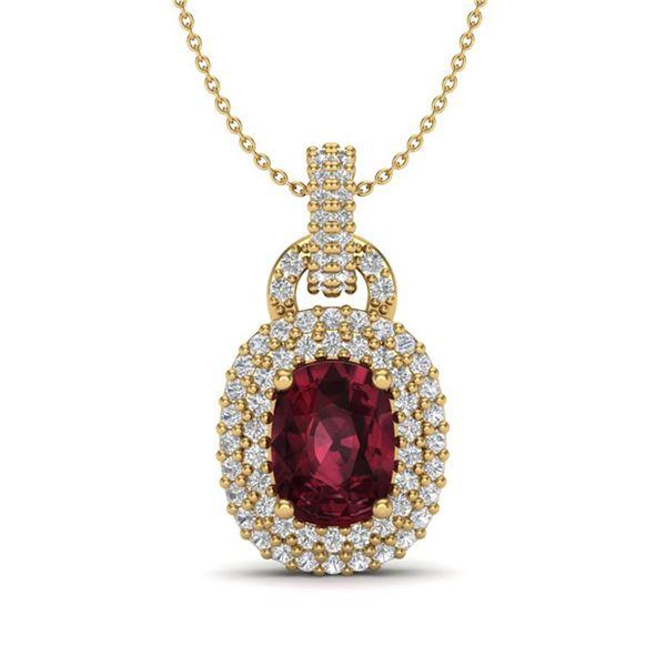 2.50 ctw Garnet & Micro Pave VS/SI Diamond Necklace 14k Yellow Gold - REF-52W8H