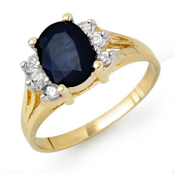 2.14 ctw Blue Sapphire & Diamond Ring 14k Yellow Gold - REF-38G2W
