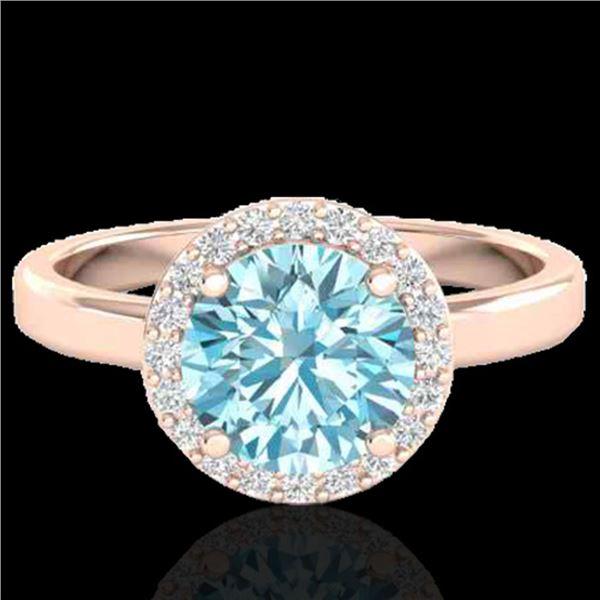 2 ctw Sky Blue Topaz & Halo VS/SI Diamond Micro Ring 14k Rose Gold - REF-30G8W