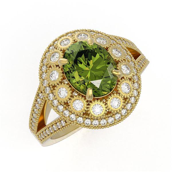 4.25 ctw Certified Tourmaline & Diamond Victorian Ring 14K Yellow Gold - REF-132N8F