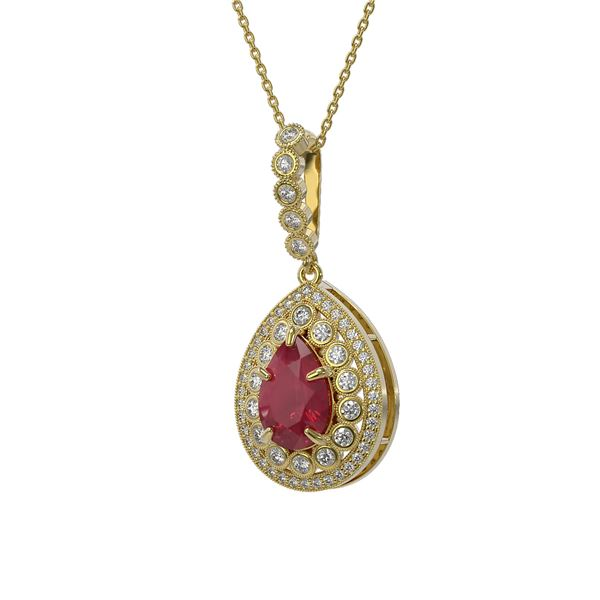 4.97 ctw Certified Ruby & Diamond Victorian Necklace 14K Yellow Gold - REF-160F2M