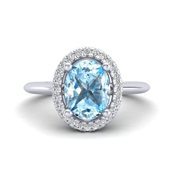 2 ctw Sky Blue Topaz & Micro VS/SI Diamond Ring Halo 18k White Gold - REF-37K8Y