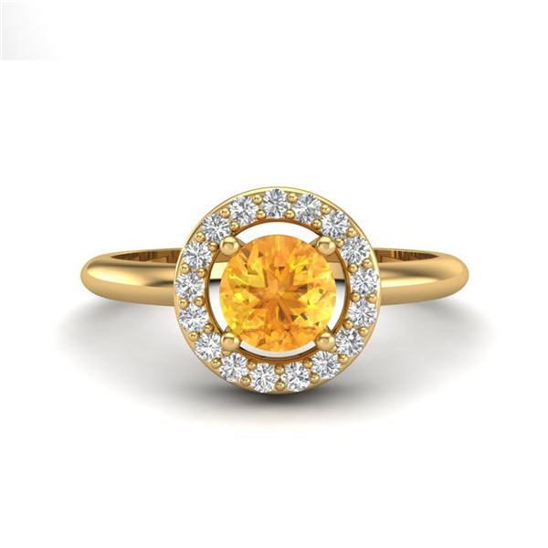 0.75 ctw Citrine & Micro VS/SI Diamond Certified Ring 18k Yellow Gold - REF-33Y3X