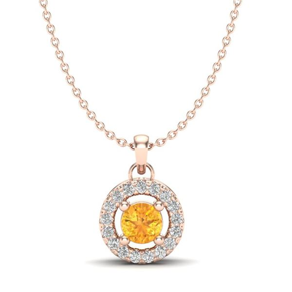 0.38 ctw Citrine & Micro Pave VS/SI Diamond Necklace 14k Rose Gold - REF-18F4M