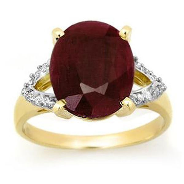 6.50 ctw Ruby & Diamond Ring 10k Yellow Gold - REF-94X5A