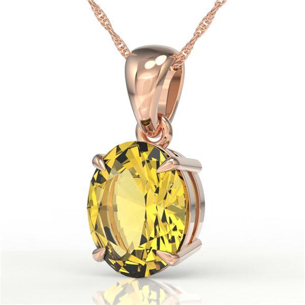 2.5 ctw Citrine Designer Solitaire Necklace 14k Rose Gold - REF-22X3A