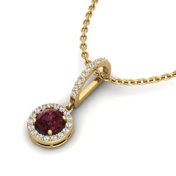 1 ctw Garnet & Micro VS/SI Diamond Certified Necklace 18k Yellow Gold - REF-35F2M
