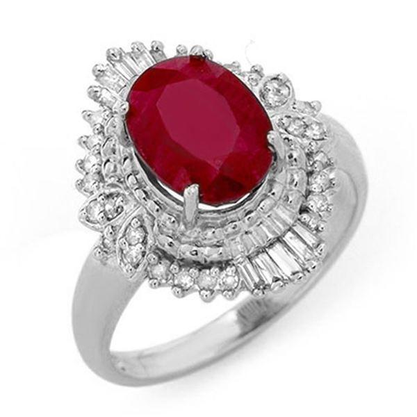 3.24 ctw Ruby & Diamond Ring 18k White Gold - REF-85N8F