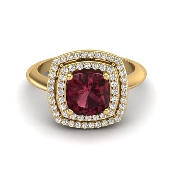 2.27 ctw Garnet & Micro VS/SI Diamond Pave Ring 18k Yellow Gold - REF-50W6H