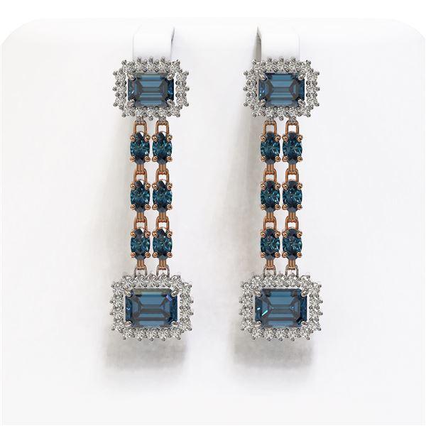 11.24 ctw London Topaz & Diamond Earrings 14K Rose Gold - REF-196R4K