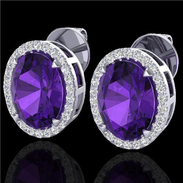 5.50 ctw Amethyst & Micro VS/SI Diamond Halo Earrings 18k White Gold - REF-49G2W