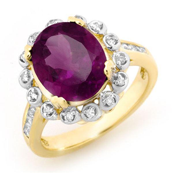 4.33 ctw Amethyst & Diamond Ring 10k Yellow Gold - REF-38G8W