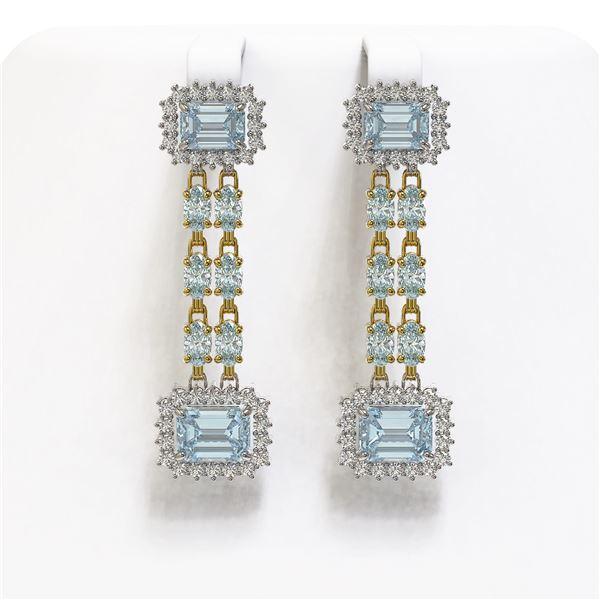 11.04 ctw Sky Topaz & Diamond Earrings 14K Yellow Gold - REF-190R9K