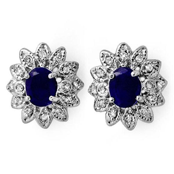 3.0 ctw Blue Sapphire & Diamond Earrings 14k White Gold - REF-82Y8X