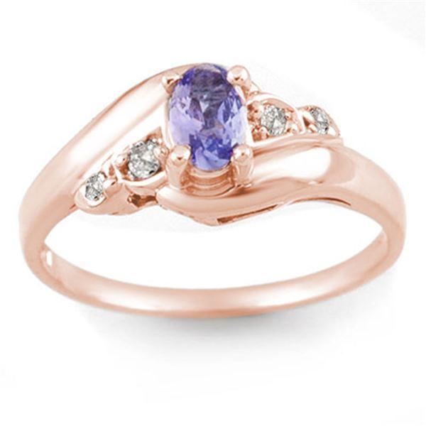 0.42 ctw Tanzanite & Diamond Ring 14k Rose Gold - REF-18A3N