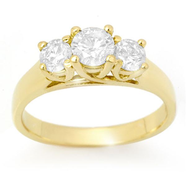 0.85 ctw Certified VS/SI Diamond 3 Stone Ring 14k Yellow Gold - REF-123M6G