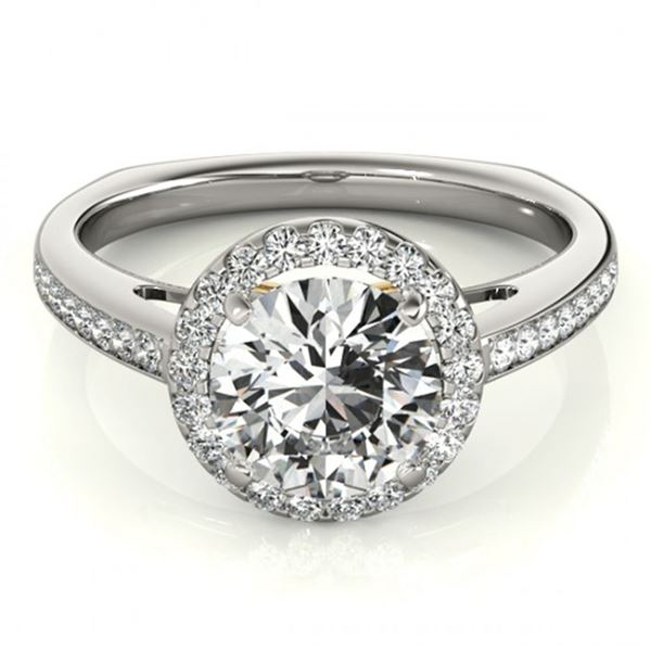 0.8 ctw Certified VS/SI Diamond Solitaire Halo Ring 18k 2Tone Gold - REF-102N3F