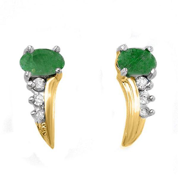 0.60 ctw Emerald & Diamond Earrings 10k Yellow Gold - REF-12R3K