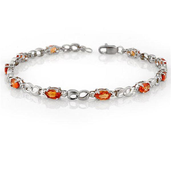 3.51 ctw Orange Sapphire & Diamond Bracelet 10k White Gold - REF-24F8M