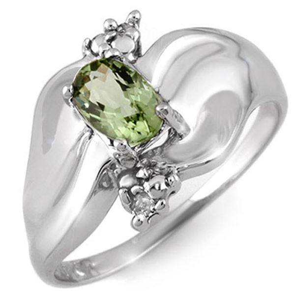 0.54 ctw Green Tourmaline & Diamond Ring 10k White Gold - REF-18Y2X