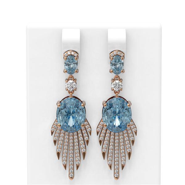 8.62 ctw Blue Topaz & Diamond Earrings 18K Rose Gold - REF-208F2M