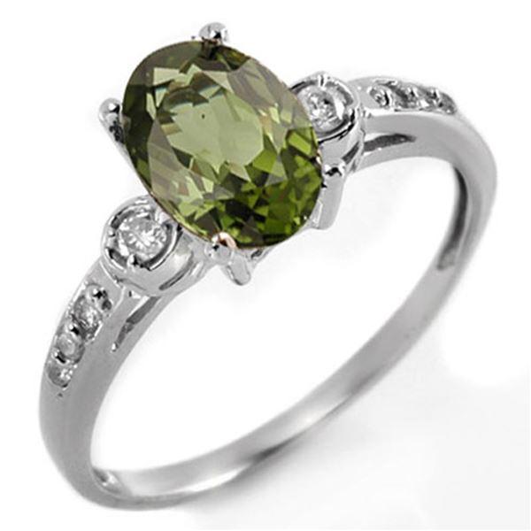1.45 ctw Green Tourmaline & Diamond Ring 10k White Gold - REF-22G8W