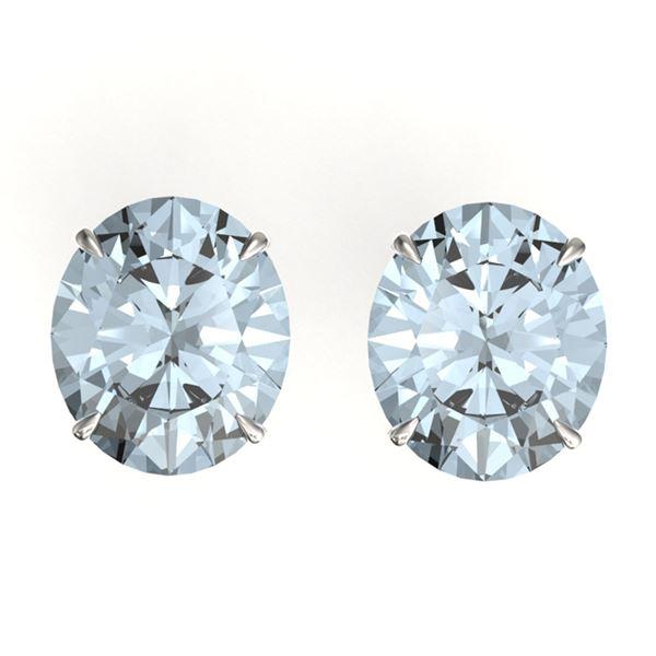 18 ctw Sky Blue Topaz Designer Stud Earrings 18k White Gold - REF-50F6M