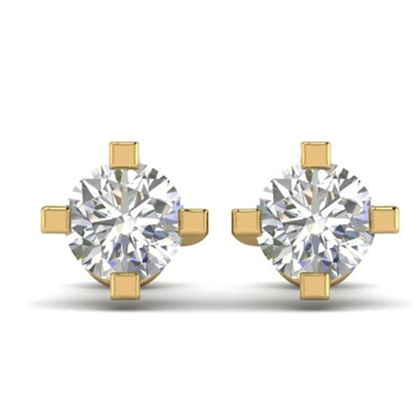 1 ctw Certified VS/SI Diamond Solitaire Stud Earrings 14k Yellow Gold - REF-145W3H