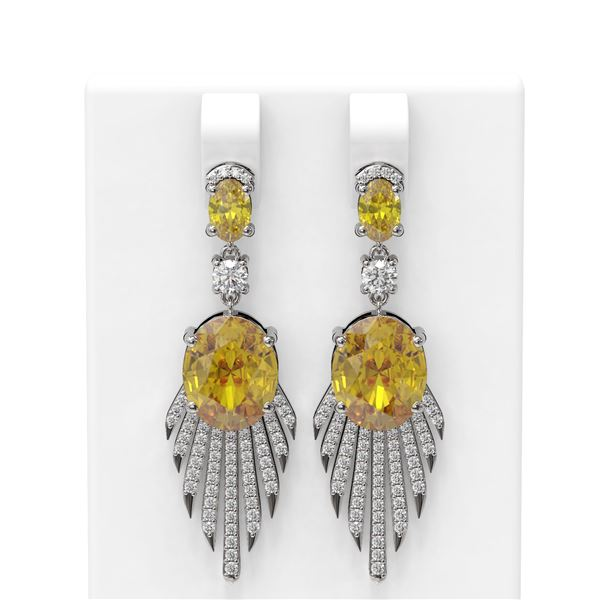 8.8 ctw Canary Citrine & Diamond Earrings 18K White Gold - REF-238K2Y