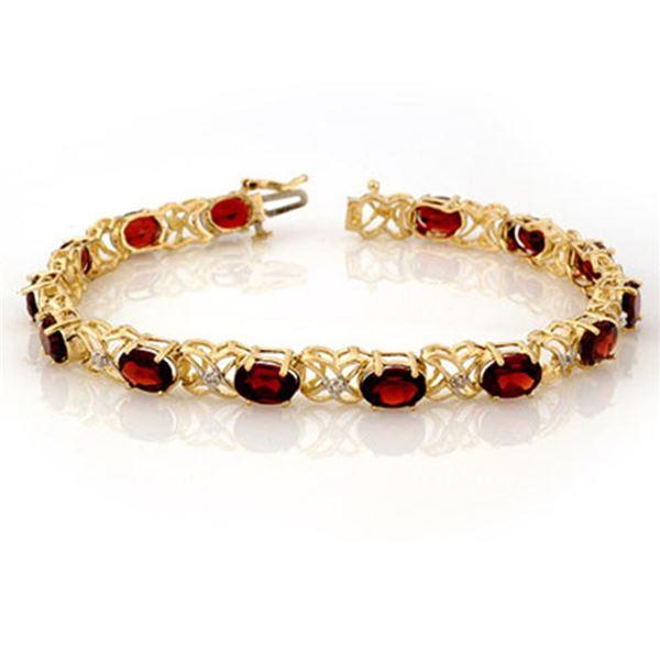 13.55 ctw Garnet & Diamond Bracelet 10k Yellow Gold - REF-81Y8X