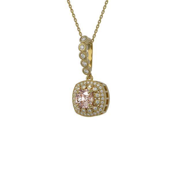 2.15 ctw Morganite & Diamond Victorian Necklace 14K Yellow Gold - REF-86H8R