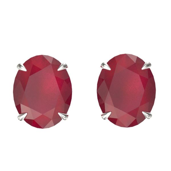 7 ctw Ruby Designer Solitaire Stud Earrings 18k White Gold - REF-55Y2X