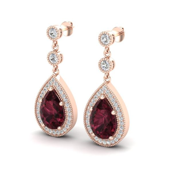 4.50 ctw Garnet & Micro Pave VS/SI Diamond Earrings 14k Rose Gold - REF-47K9Y