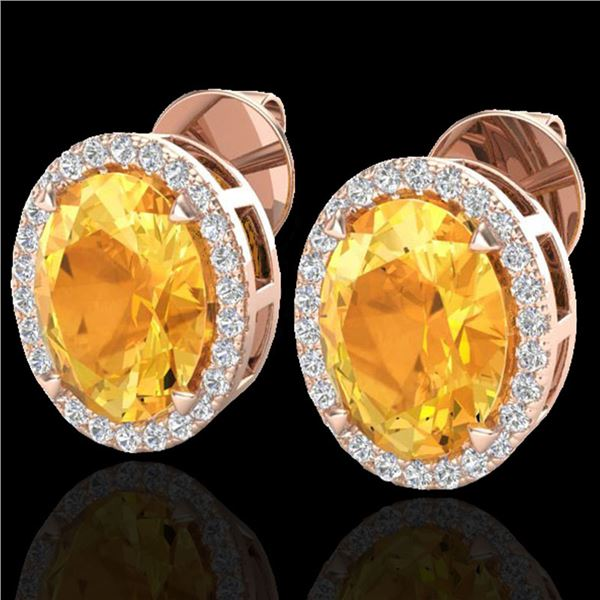 5.50 ctw Citrine & Micro VS/SI Diamond Halo Earrings 14k Rose Gold - REF-47M9G