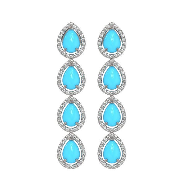 6.20 ctw Turquoise & Diamond Micro Pave Halo Earrings 10k White Gold - REF-158K2Y