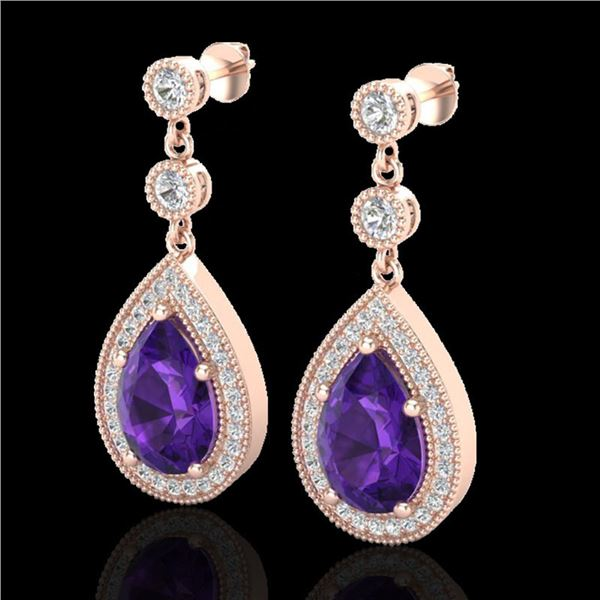 4.50 ctw Amethyst & Micro Pave VS/SI Diamond Earrings 14k Rose Gold - REF-47F9M