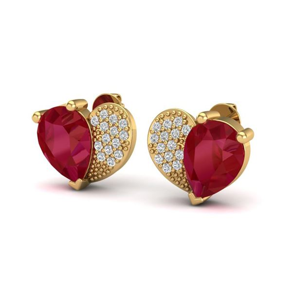 2.50 ctw Ruby & Micro Pave VS/SI Diamond Certified Earrings 10k Yellow Gold - REF-25A4N