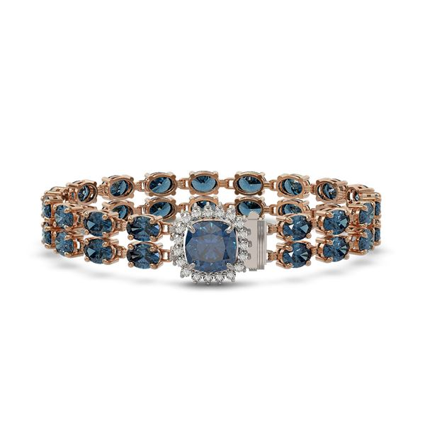 17.87 ctw London Topaz & Diamond Bracelet 14K Rose Gold - REF-178F2M
