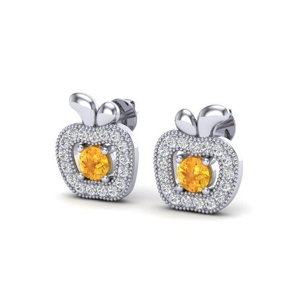 0.61 ctw Citrine & VS/SI Diamond Micro Pave Earrings 18k White Gold - REF-32R6K