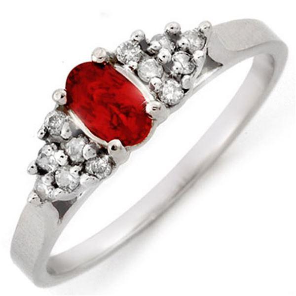 0.74 ctw Red Sapphire & Diamond Ring 18k White Gold - REF-30M2G