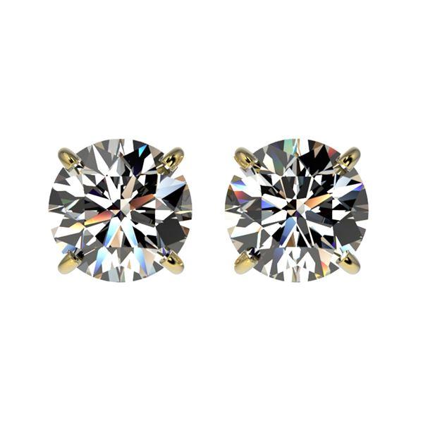 1.50 ctw Certified Quality Diamond Stud Earrings 10k Yellow Gold - REF-127F5M