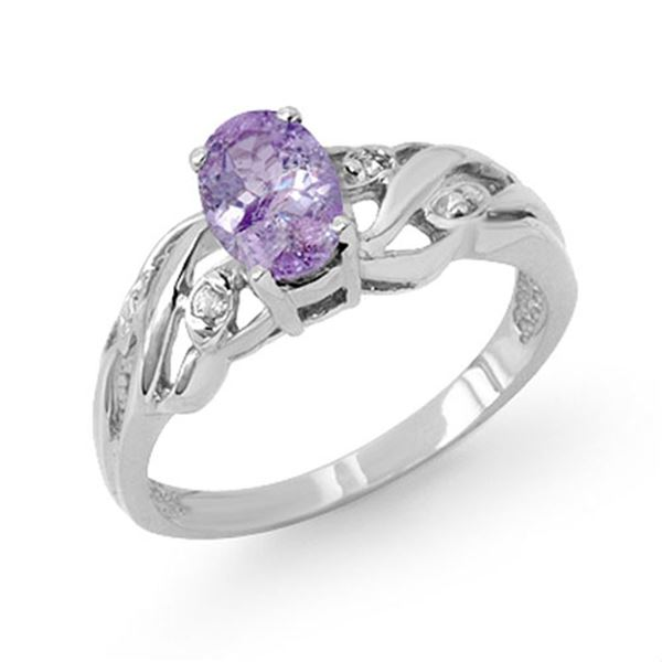 0.72 ctw Tanzanite & Diamond Ring 18k White Gold - REF-28W4H