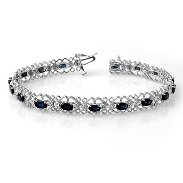7.02 ctw Blue Sapphire & Diamond Bracelet 14k White Gold - REF-86R9K