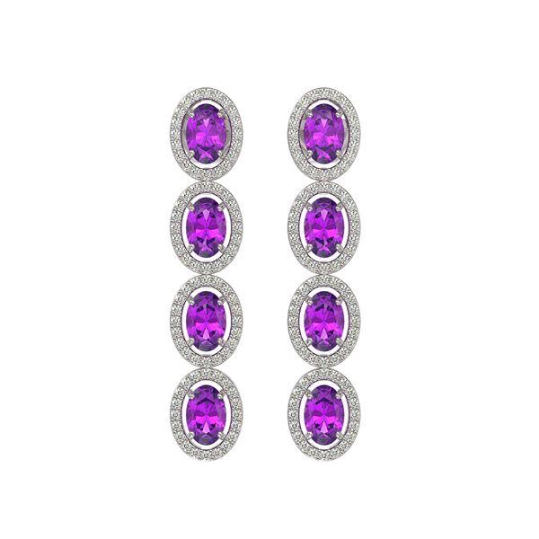 5.56 ctw Amethyst & Diamond Micro Pave Halo Earrings 10k White Gold - REF-143W6H