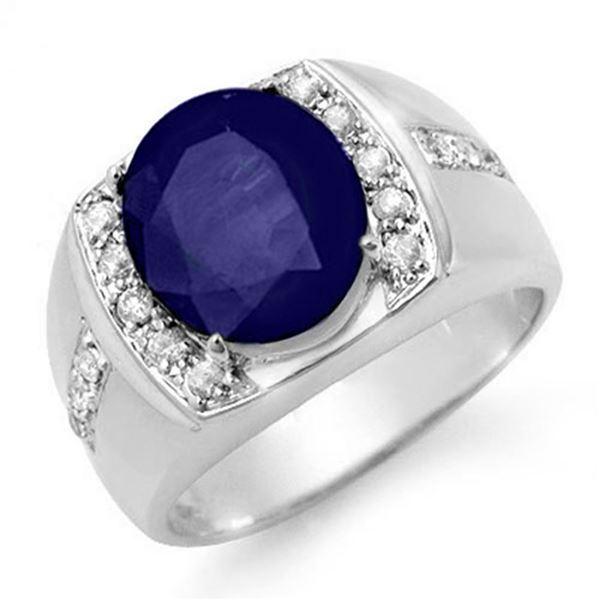 6.33 ctw Sapphire & Diamond Men's Ring 10k White Gold - REF-100H2R