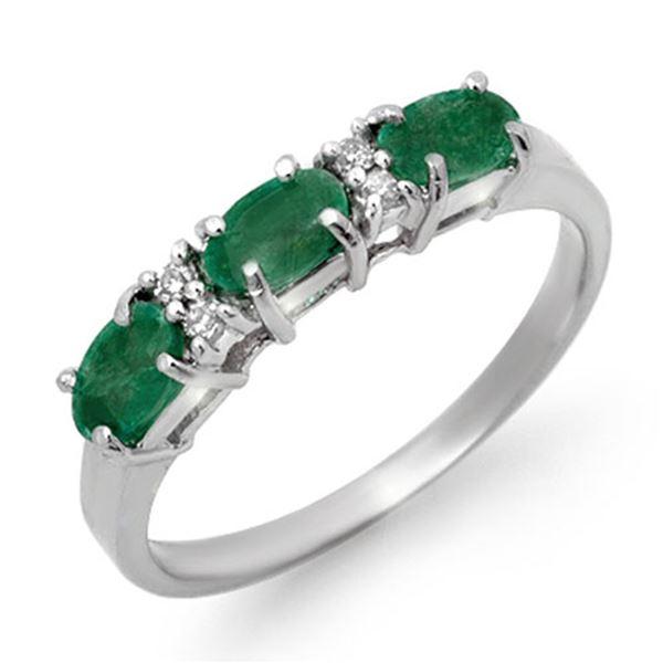 0.88 ctw Emerald & Diamond Ring 10k White Gold - REF-15G4W