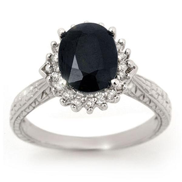 2.75 ctw Blue Sapphire & Diamond Ring 10k White Gold - REF-36Y6X