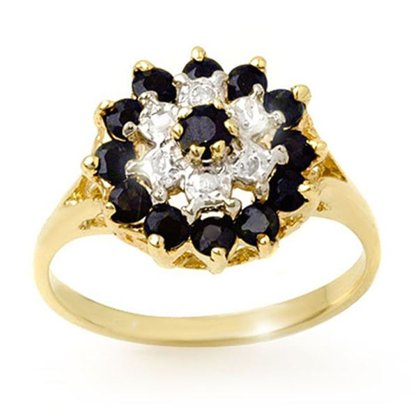 1.02 ctw Blue Sapphire & Diamond Ring 10k Yellow Gold - REF-20H5R