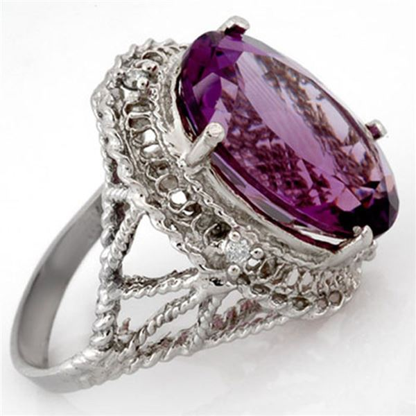 13.03 ctw Amethyst & Diamond Ring 10k White Gold - REF-39F5M