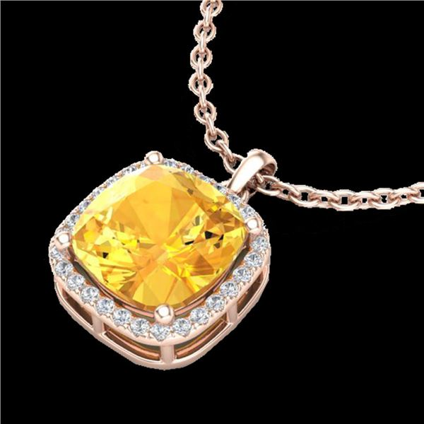 6 ctw Citrine & Micro Pave Halo VS/SI Diamond Necklace 14k Rose Gold - REF-39F5M